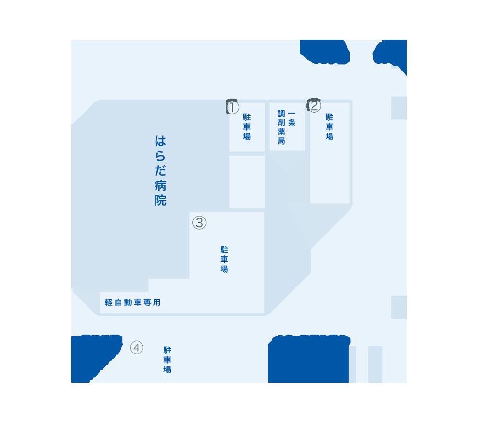 はらだ病院の駐車場マップ